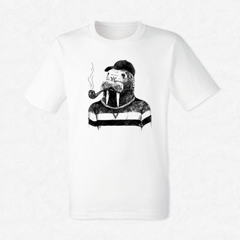 T-shirt Walrus in hipster style