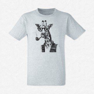 T-shirt Giraffe hipster fume une pipe