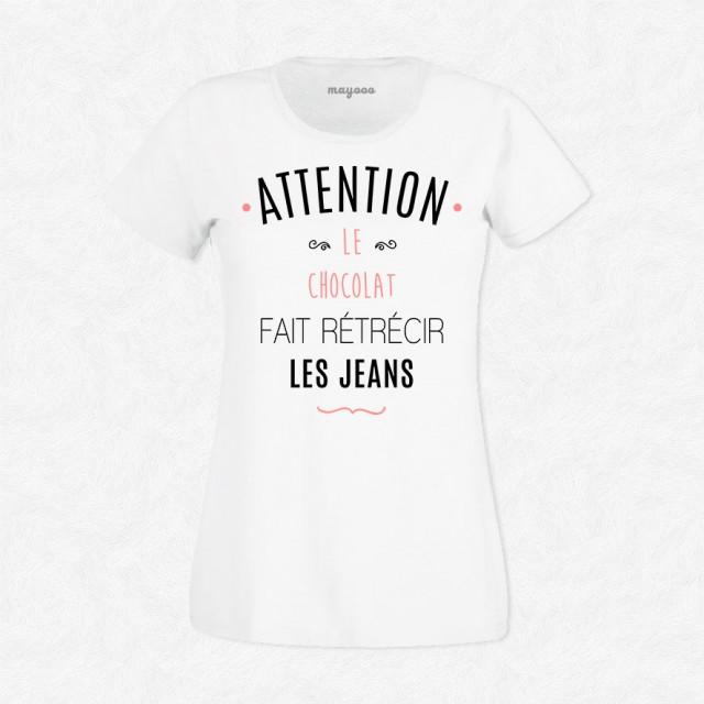 T-shirt Le chocolat fait rétrécir les jeans