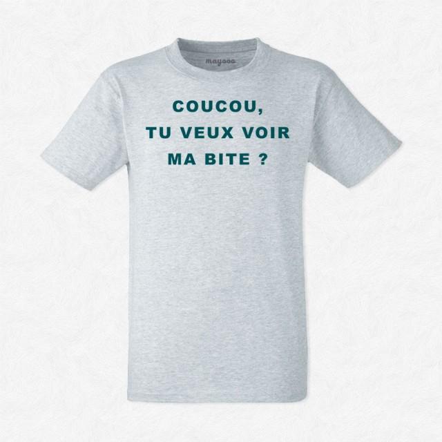 T-shirt Coucou tu veux voir ma bite