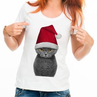 T-shirt Mignon chat dans un chapeau de Père Noël