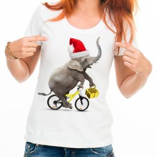 T-shirt Éléphant avec le chapeau de père sur un vélo