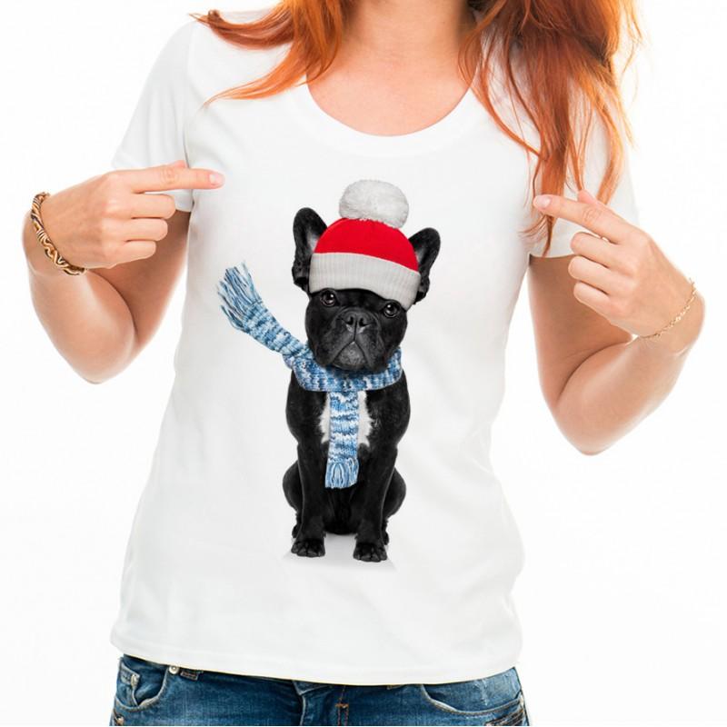 T-shirt Bouledogue écharpe noël