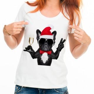 T-shirt Bouledogue fête et lunette