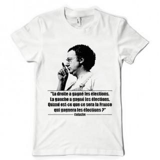 T-shirt Coluche gauche droite